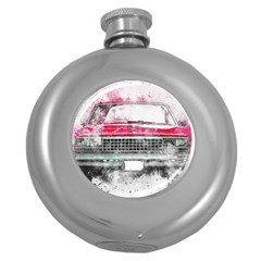 Car Old Car Art Abstract Round Hip Flask (5 Oz) by Celenk