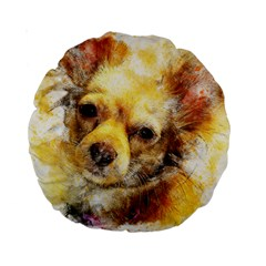 Dog Animal Art Abstract Watercolor Standard 15  Premium Round Cushions by Celenk
