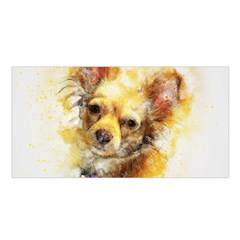 Dog Animal Art Abstract Watercolor Satin Shawl by Celenk