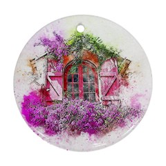 Window Flowers Nature Art Abstract Round Ornament (two Sides) by Celenk