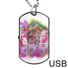 Window Flowers Nature Art Abstract Dog Tag Usb Flash (one Side) by Celenk