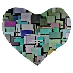 Background Painted Squares Art Large 19  Premium Heart Shape Cushions by Celenk