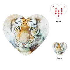 Tiger Animal Art Abstract Playing Cards (heart)  by Celenk
