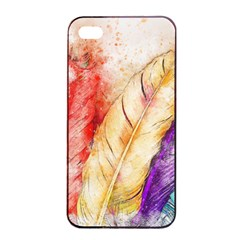 Feathers Bird Animal Art Abstract Apple Iphone 4/4s Seamless Case (black) by Celenk