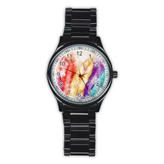 Feathers Bird Animal Art Abstract Stainless Steel Round Watch by Celenk