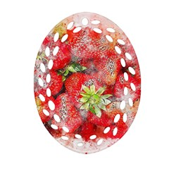 Strawberries Fruit Food Art Oval Filigree Ornament (two Sides) by Celenk