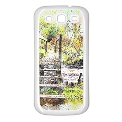 River Bridge Art Abstract Nature Samsung Galaxy S3 Back Case (white) by Celenk