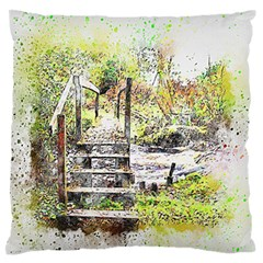 River Bridge Art Abstract Nature Standard Flano Cushion Case (two Sides) by Celenk