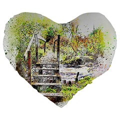 River Bridge Art Abstract Nature Large 19  Premium Flano Heart Shape Cushions by Celenk