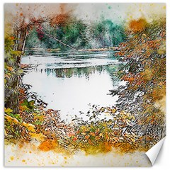 River Water Art Abstract Stones Canvas 16  X 16   by Celenk