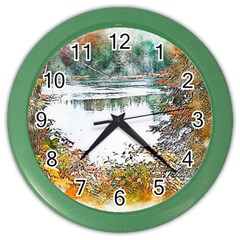 River Water Art Abstract Stones Color Wall Clocks by Celenk