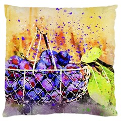 Fruit Plums Art Abstract Nature Large Flano Cushion Case (one Side) by Celenk