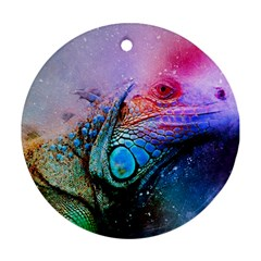 Lizard Reptile Art Abstract Animal Ornament (round) by Celenk