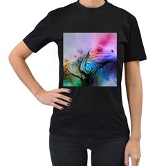 Lizard Reptile Art Abstract Animal Women s T Shirt (black) by Celenk