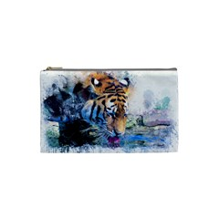 Tiger Drink Animal Art Abstract Cosmetic Bag (small)  by Celenk