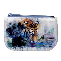 Tiger Drink Animal Art Abstract Large Coin Purse by Celenk