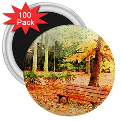 Tree Park Bench Art Abstract 3  Magnets (100 Pack) by Celenk