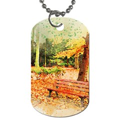 Tree Park Bench Art Abstract Dog Tag (two Sides) by Celenk