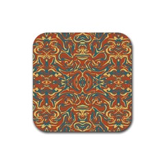 Multicolored Abstract Ornate Pattern Rubber Square Coaster (4 Pack)  by dflcprints