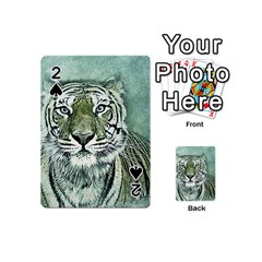 Tiger Cat Art Abstract Vintage Playing Cards 54 (mini)  by Celenk