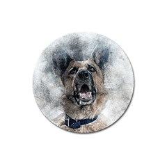 Dog Pet Art Abstract Vintage Magnet 3  (round) by Celenk