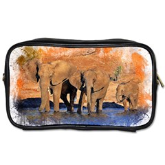 Elephants Animal Art Abstract Toiletries Bags 2 Side by Celenk