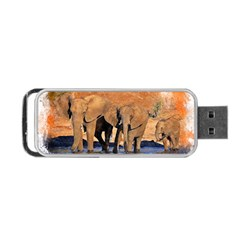 Elephants Animal Art Abstract Portable Usb Flash (two Sides) by Celenk