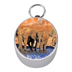Elephants Animal Art Abstract Mini Silver Compasses by Celenk
