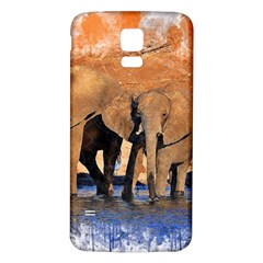 Elephants Animal Art Abstract Samsung Galaxy S5 Back Case (white) by Celenk