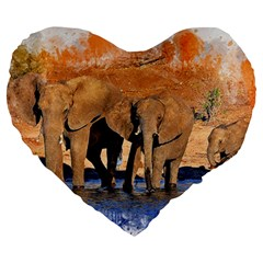 Elephants Animal Art Abstract Large 19  Premium Flano Heart Shape Cushions by Celenk