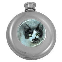 Cat Pet Art Abstract Vintage Round Hip Flask (5 Oz) by Celenk