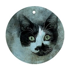Cat Pet Art Abstract Vintage Round Ornament (two Sides) by Celenk