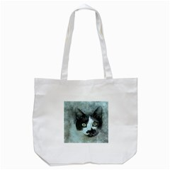 Cat Pet Art Abstract Vintage Tote Bag (white) by Celenk