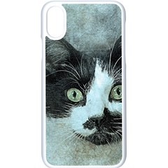 Cat Pet Art Abstract Vintage Apple Iphone X Seamless Case (white)