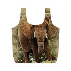 Elephant Animal Art Abstract Full Print Recycle Bags (m)  by Celenk