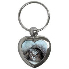 Cat Pet Art Abstract Vintage Key Chains (heart)  by Celenk