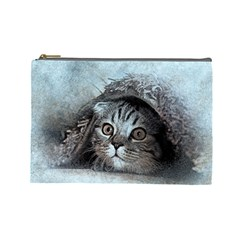 Cat Pet Art Abstract Vintage Cosmetic Bag (large)  by Celenk