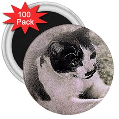 Cat Pet Art Abstract Vintage 3  Magnets (100 Pack) by Celenk
