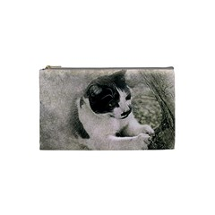 Cat Pet Art Abstract Vintage Cosmetic Bag (small)  by Celenk