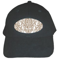 Beautiful Gold Floral Pattern Black Cap by 8fugoso