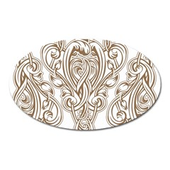 Beautiful Gold Floral Pattern Oval Magnet by 8fugoso