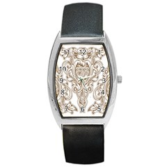 Beautiful Gold Floral Pattern Barrel Style Metal Watch by 8fugoso