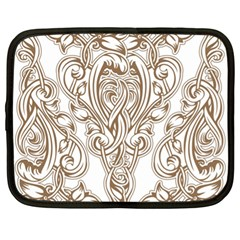Beautiful Gold Floral Pattern Netbook Case (xl)  by 8fugoso