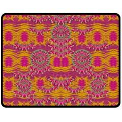 Fern Landscape In Harmony With Bleeding Hearts Fantasy Art Fleece Blanket (medium)  by pepitasart
