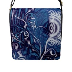 Mystic Blue Flower Flap Messenger Bag (l)  by Cveti