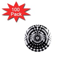 Ornaments Pattern Black White 1  Mini Magnets (100 Pack)  by Cveti