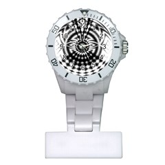 Ornaments Pattern Black White Plastic Nurses Watch by Cveti