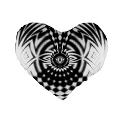 Ornaments Pattern Black White Standard 16  Premium Flano Heart Shape Cushions by Cveti