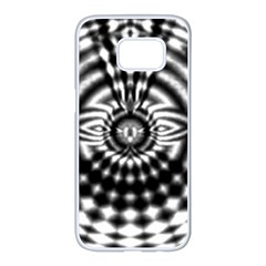 Ornaments Pattern Black White Samsung Galaxy S7 Edge White Seamless Case by Cveti