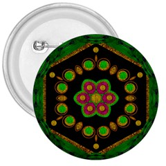Magic Of Life A Orchid Mandala So Bright 3  Buttons by pepitasart